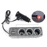 Car Cigarette Lighter 3 Way Auto Socket Splitter 12V Charger Power Adapter PlugDC 12V USB LED light Control Black 60w L0192396