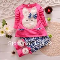 2014 100% cotton female child long-sleeve T-shirt child top set clothes trousers twinset 13 colour 1-4 age