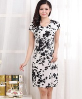The new female summer 2014 fashion women's clothing floral with short sleeves The dress. Free shipping