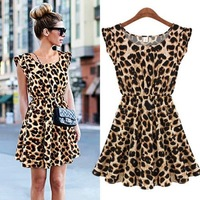 2014 High Quality Summer Women Dress Sexy Leopard Print One Piece Mini Dress Sundress Free shipping