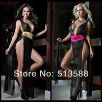 Free shipping sexy interest split dress Gauze transparent uniform temptation lingerie women sexy lingerie sex dress
