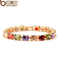 Luxury Rose Gold Plated Chain Bracelet for Women Colorful AAA Swiss Cubic Zircon Crystal Bamoer Jewelry JIB004