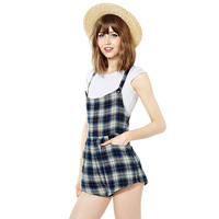 England Plaid style sleeveless girl's overalls  shorts jumpsuits Plus sizes XS-XXL