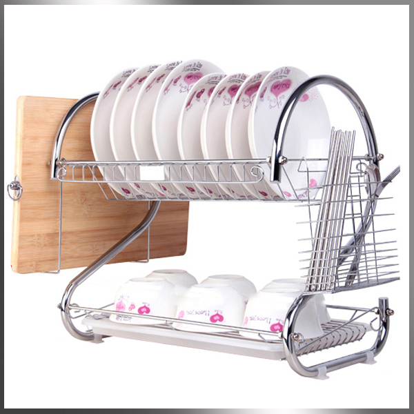 2014New Stainless steel double layer bowl drain rack multifunctional kitchen dish spoon rack shelf bowl rack cabinet easy to use(China (Mainland))