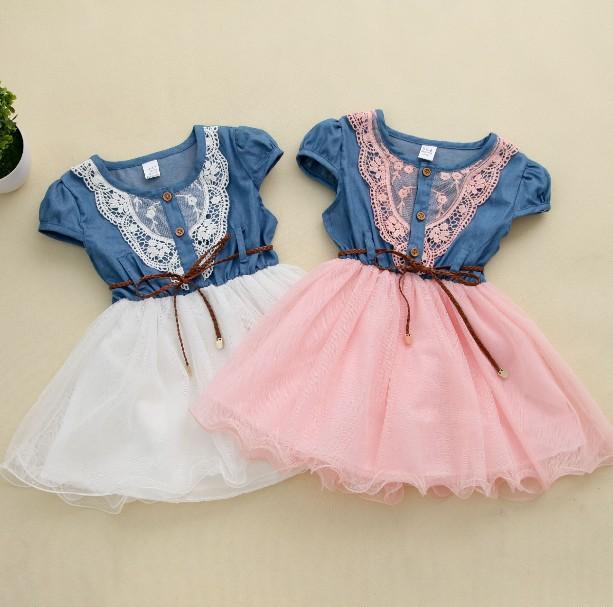 New 2014 Girl Summer Denim Dress for kids Jeans Tutu Dresses Cute Beautiful with belt Children Dresses(China (Mainland))