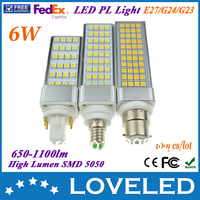 high quality smd 5050 90~265v 6w led pl light lamp 650~1100lm 180 degree CE RoHS Approved Free Fedex+100pcs/lot