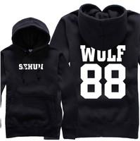 KPOP EXO LUHAN KRIS SEHUN CHANYEOL 12 Members WOLF 88 Sweatshirts Black Hoodies