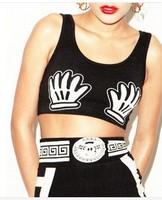 2014 NEW  Mouse hand print Vest Shirts Punk Women Summer Short tops Sexy S M L White