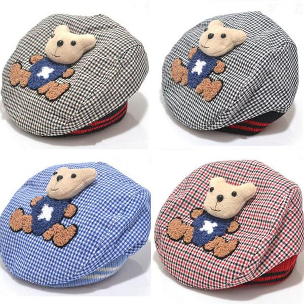 2014 Fashion Baby Hat Animal Kids Hat Bear Cartoon Beret Baby Cap Tartan Design Children Headdress(China (Mainland))