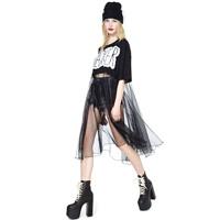 Free shipping!2014 new Letter print slacker loose short-sleeve t-shirt perspectivity patchwork thin gauze  dress