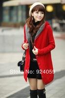 2014 New Arrival HotSale Colorful Knitted Cardigan Women Casual Long Geometric Sweater UK Loose Dress Khaki/Beige Free Shipping