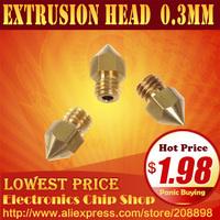 3d printer accessories Brass nozzle Nozzle diameter 0.3 mm Mk8 Makerbot extrusion head