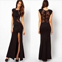 Women XXXXL Plus size Black Lace Evening party Long Dresses spring 2014 Bodycon Split Red brief Dress vestidos de fiesta Gowns