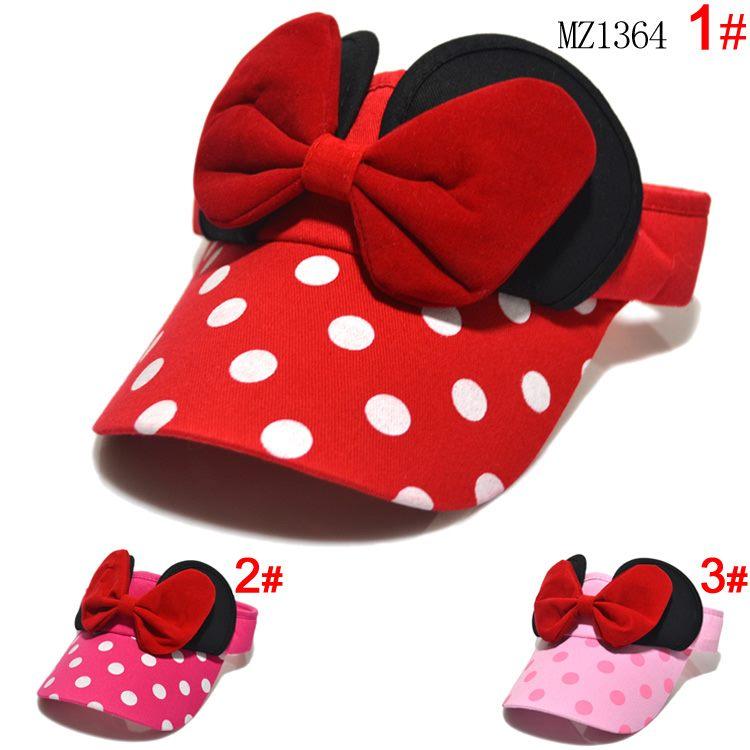 Baby girls Minnie design Big Bow cartoon caps,kids girl cotton sun hats, girls caps baseball hats summer,girl visor Hats & Caps(China (Mainland))