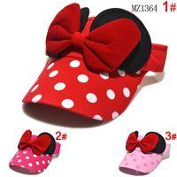 Baby girls Minnie design Big Bow cartoon caps,kids girl cotton sun hats, girls caps baseball hats summer,girl visor Hats & Caps