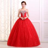 2014 red bride wedding dress tube top princess rhinestones wedding dress bandage