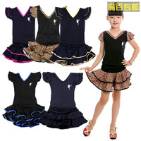 Female child Latin dance set fitness set child dance leotard smallerone ruffle dress  exhibition suits for girls