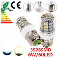 Free shipping  6W 60LED 3528 SMD E27 E14 B22 G9 GU10 Corn Bulb Light Maize Lamp LED Light Bulb LED Lamp White/Warm White