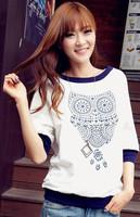 2014 Spring summer fashion white women's t-shirt women owl animal pattern printed half sleeve shirt tops