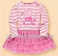 5pcs/lot flower girl's princess pink dress summer clothing long-sleeve tutu dresses for girl 2014 new cartoon white