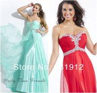 2014 New Fashion Sweetheart Neckline BacklessTop Crystals Bodice Chiffon Hot Red  Beach Long Prom Dress Vestidos de fiesta