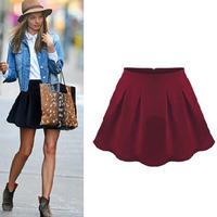 2014 fashion design excellent quality pleated sun skirt bust skirt all-match women's short skirt