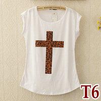 Fashion Women's Summer Short-sleeve O-neck Leopard Cross Print Cotton Modal T-shirt Basic Tee t shirts Tops Shirt 1pcs/lot T6