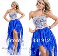vestidos de fiesta sexy orange/royal blue hi low dress beads prom dresses 2014 women long dress royal blue high low prom dresses