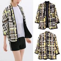 Vintage Retro Women Geometric Check Loose Kimono Cardigan Jacket Coat Blazer Tops