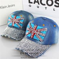 Hat women's flag diamond spring and summer denim baseball cap sun-shading cap