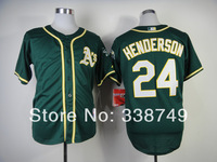 Free Shipping 2014 Cheap Oakland Athletics #24 Rickey Henderson Green Cool Base Baseball Jersey,Embroidery Logos Size M-XXXL