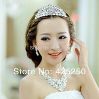 2014 New Arrival Hot Sale Romantic Women Fashion Rhinestone The Bride Accessories Set Wedding Jewellery Necklace Piece Dsm6112