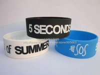 "5 SECONDS of SUMMER wristband,5 SOS Silicon Bracelet, Adult, 1"" Wide Band, Promotion Gift, 3Colours, 50pcs/Lot, Free Shipping"