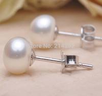free shipping AAAA 10-11mm Bg natural Bread pearl genuine freshwater pearl studs earring 245#