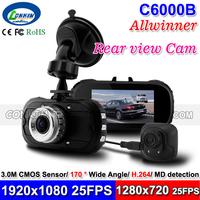 2014 New 2 Camera Car Dash Cam Registrar 1080P Full HD + 720P HD Rear View Camera 2.7inch LCD +IR Night Vision + G-sensor C6000B