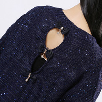 New 2014 Spring and winter Hollow out Lace Knit Blouse Fashion pullover woman Casual knit sweater sequins Shirt woman Top Tees