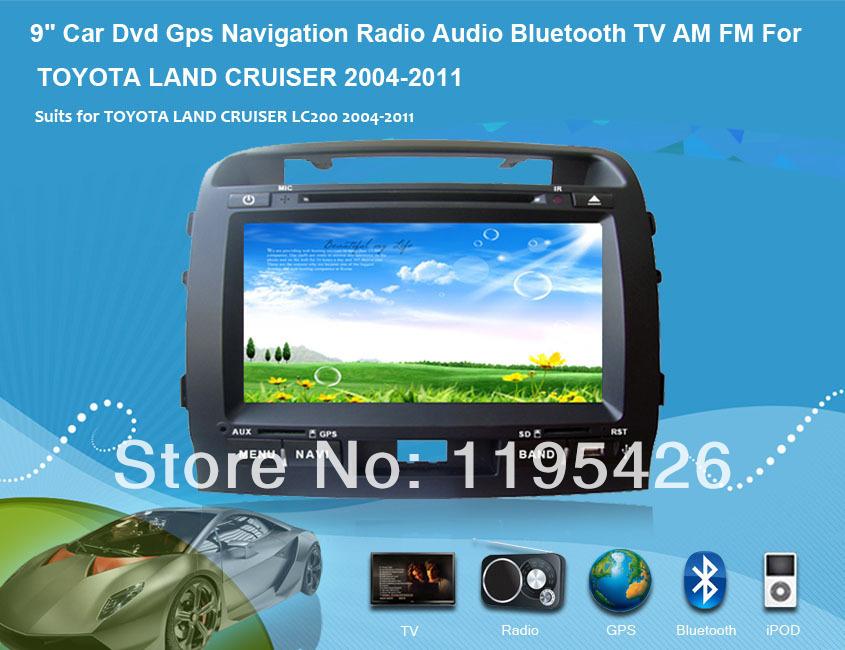 "9"" Car Dvd Gps Navigation Radio Audio Bluetooth TV AM FM Vehicle Navigation For TOYOTA LAND CRUISER LC200 2004-2011(China (Mainland))"