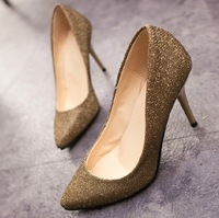 Free shipping  2014 pointed toe paillette gold and silver thin heels high-heeled shoes zapatos sapatos