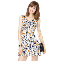 Daisy print front fly breasted dress sleeveless one-piece dress