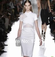 Spring 2014 New summer dress Europe and America  Women Clothing hollow Victoria Beckhams dress lapel dress