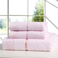 Promotion!!  100% Cotton 3pcs/Set Cotton Towel Set (Pink/Blue/White)