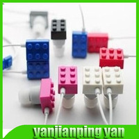 2014 new 3.5mm Cute Building Block In Ear Earphone Toy Bricks Headphone for MP3 MP4 CD Etc High Quality New Arrival