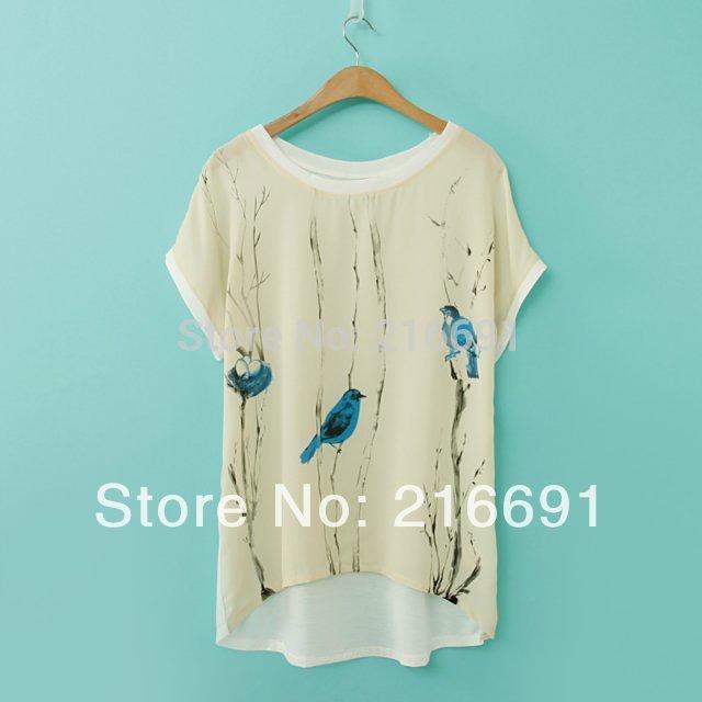 2014 new fashion Europe women spring & summer loose t-shirt Blue Bird print tees casual batwing sleeve tops#E251(China (Mainland))