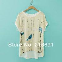 2014 new fashion Europe women spring & summer loose t-shirt Blue Bird print tees casual batwing sleeve tops#E251