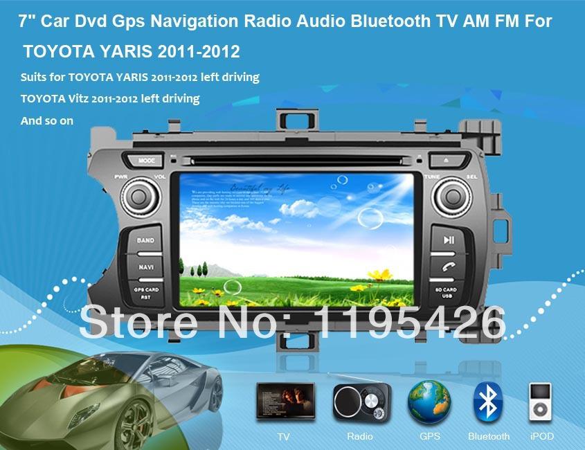 "7"" Car Dvd Gps Navigation Radio Audio Bluetooth TV AM FM Vehicle Navigation For TOYOTA YARIS Vitz Echo 2011-2012(China (Mainland))"