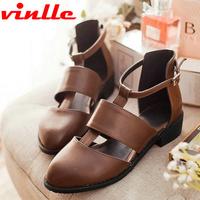 VINLLE 2014 Fashion casual falt sandals bohemia female flower shoes sexy Ladies Dress casual sandals size  34-48