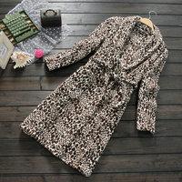 Spring new arrival hooded leopard print belt long design coral fleece robe sleepwear outerwear female 0.6
