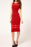 New 2014 Summer Plus Size Women Vintage Vestidos Open Back Sleeveless Knee Length Sexy Club Party Bodycon Casual Pencil Dress