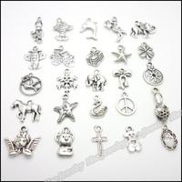 Mix 250pcs Vintage Charms  Pendant Tibetan silver Zinc Alloy Fit Bracelet Necklace DIY Metal Jewelry Findings