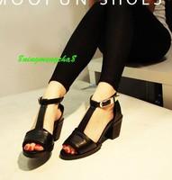 2014 open toe sandals t belt metal buckle belt thick heels shoes casual sweet sandals size 35-39